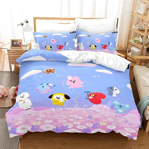 YINGwen Ropa de cama 3D Anime BTS, ropa de cama para niños, decoración para regalo, 100% microfibra, 2 fundas de almohada (BTS-2,155 x 200 cm (80 x 80 cm)