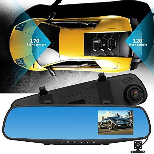 happygirr Cámara del Coche de 4.3 Pulgadas 1080P, Espejo retrovisor con cámara Trasera, Doble cámara Delantera y Trasera, cámara de Marcha atrás, cámara de Marcha atrás para el Tablero de estaci