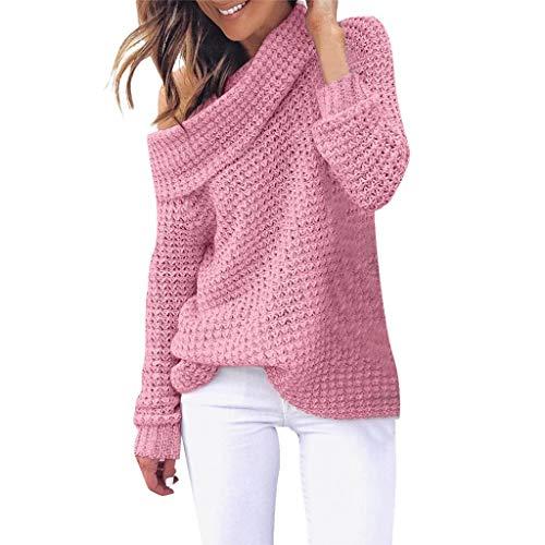Reooly Jersey de Punto Mujer Color sólido Casual sin Tirantes Bufanda Cuello cálido Jersey Camisa de Manga Larga