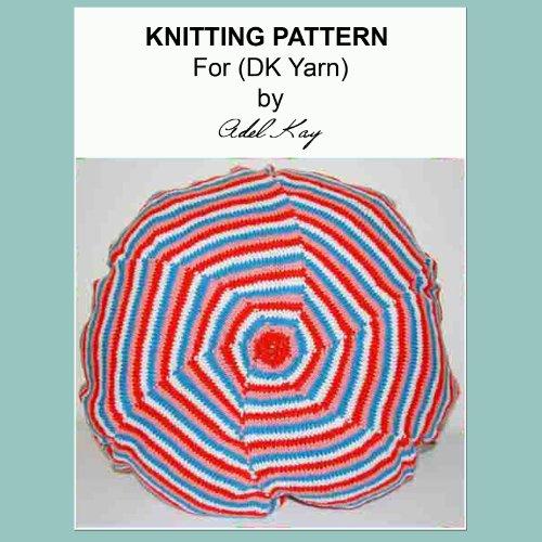 Ella Beach Style Round Striped Hexagon Spiral Cushion Cover DK Yarn Knitting Pattern