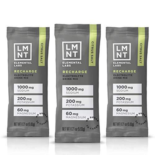 LMNT Keto Electrolyte Drink Mix | Paleo Hydration Powder | No Sugar, No Artificial Ingredients | Citrus Salt | 30 Stick Packs