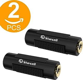 Act - Adaptador de conector jack hembra de audio estéreo TRS de 3,5mm, 2 unidades, color negro