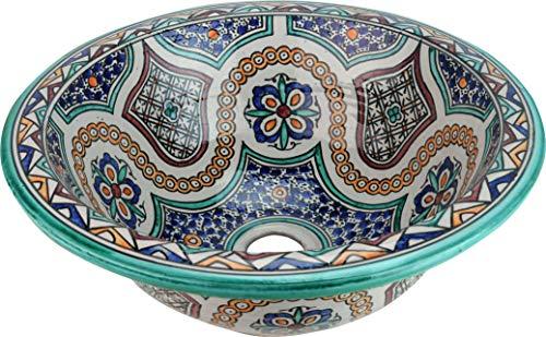 Meknes Waschbecken aus Keramik, handbemalt, marokkanisches Waschbecken, rund, auf links bemalt, Durchmesser 40 cm, Höhe 16 cm