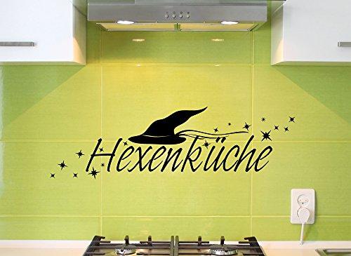Grandora Wandtattoo Wort Hexenküche + Hexenhut & Sterne I schwarz (BxH) 58 x 17 cm I Küche Esszimmer Sticker Aufkleber Wandaufkleber Wandsticker W1138