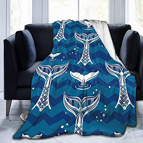 Manta de forro polar con cola de ballenas, ultra suave, ligera, de microfibra, para sofá, dormitorio, oficina, viajes, todas las estaciones, negro, 127 x 152 cm