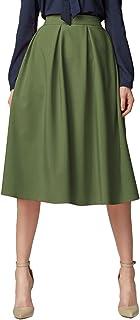 comprar comparacion Urban GoCo Mujeres Vintage Falda Midi Plisada A-Line con Bolsillos Faldas Larga