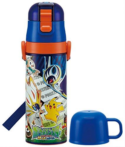 Bouteille d'eau 2 voies en acier inoxydable avec tasse 470 ml Pokémon Sun & Moon SKDC 4
