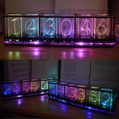 Mcbbigxw Nixie Tube Clock,Digitaluhr,Digital Tube Clock Digital Farbig Einstellbare LED Glow Tube Clock 6-stelliges Kit Geschenk Für Freunde Und Kinder