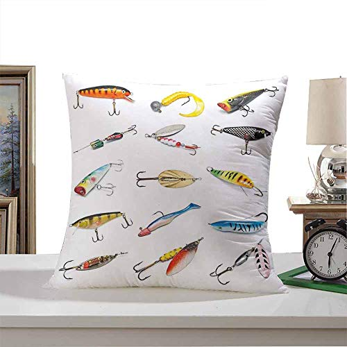 "SLLART Throw Pillow Covers Fishing Decor,Several Fish Hook Equipment Objects Trolling Angling Netting Gathering Activity,Multi 26""x26"",Bedding Gift"