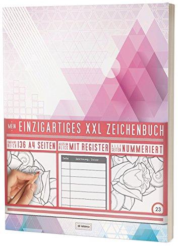 """Mein Einzigartiges XXL Zeichenbuch: 136 Seiten, Nummeriert, Register / Dickes Blanko Buch / PR601 """"Dreiecke"""" / DIN A4 Soft Cover"""