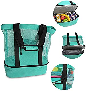 Mesh Beach Ice Cooler Bag Lunch Bags Picnic Food Portable Totes Insulated Zipper Top Waterproof for Camping Travel Swimming