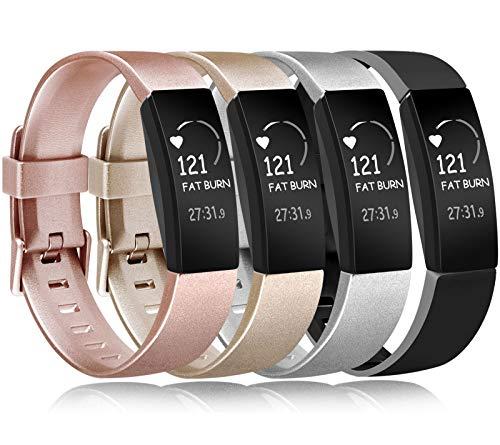 Amzpas Kompatible für Fitbit Inspire HR Armband, Weiches Sport Verstellbares Ersatz Armbänder fü Fitbit Inspire/Inspire HR (Kein Uhr) (01 Roségold/Gold/Silber/Schwarz, S)