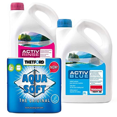 Set Thetford Activ Blue & Aktiv Rinse Toiletten Zusatz je 2 Liter, wahlweise mit Toilettenpapier (Blue + Rinse + Aqua Soft)