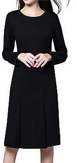ea53cb9486d Luna et Margarita Petite Robe Noire Ajustée Au Genou Manche Longue Col Rond  pour Travail