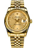 Mens Full Gold Watch Automatic Mechanical Gilded Steel Self-Wind Sapphire Glass Dress Waterproof Watch (Gold)