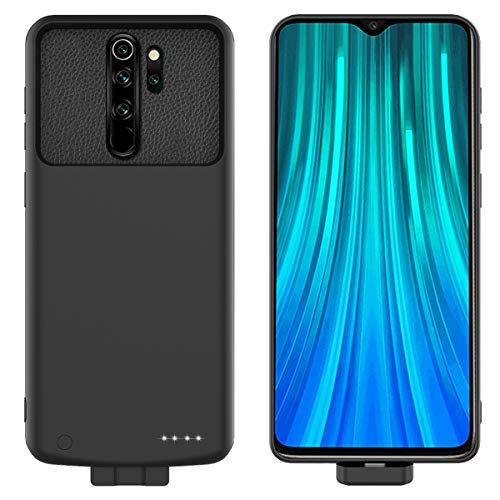 Compatible con Xiaomi Redmi Note 8 Pro Funda Batería, 7000mAh Batería Recargable Externa Power Bank Backup Ultra Delgada Protector portátil Carga Caso de Prueba de Choque Carcasa Negro