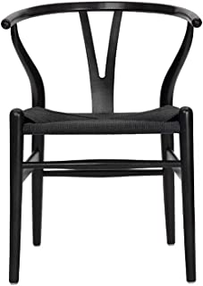 Tomile Wishbone Chair Y Chair Solid Wood Dining Chairs Rattan Armchair Natural (Beech-Black)