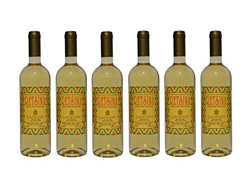 6x Retsina Lafkioti je 750ml 12% aus Griechenland - griechischer geharzter Weißwein Sommerwein