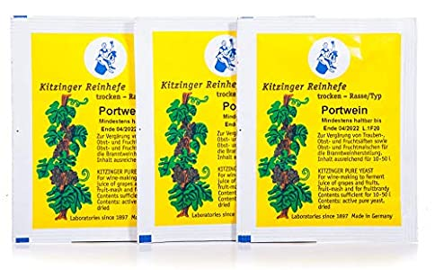 Arauner Kitzinger Levadura seca para cultivo puro de vino de Portwein, 3 unidades, para 150 litros