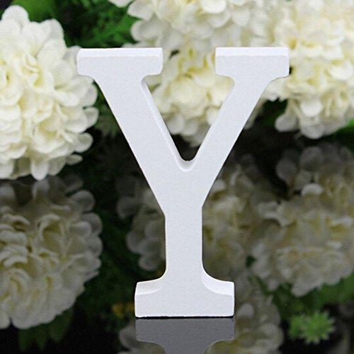 Freeas Décoratif Bois Lettres, 26 Alphabet Blanc Lettres en Bois pour Déco Nom des Enfants Fête d'anniversaire de Mariage Décoration de Maison et de Chambre à Coucher (Y)