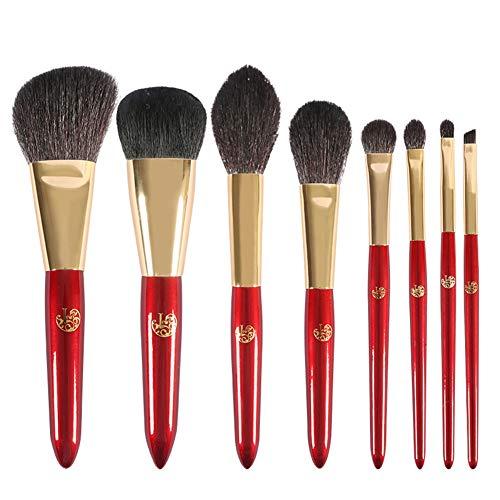 8Pcs maquillage brosse ensemble ombre à paupières brosse cheveux animaux complet cheveux professionnel laine brosse