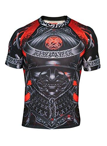 Ronin Samurai Blackout Ghost Rash Guard Base Layer Kompressionsshirt für BJJ MMA Grappling, Herren, schwarz, Medium