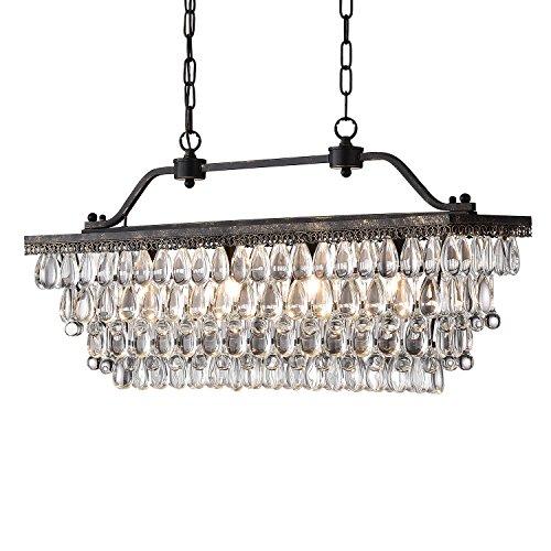 Edvivi 4-Light Antique Bronze Rectangular Linear Crystal Chandelier Dining Room Ceiling Fixture   Glam Lighting