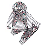 CoKate Baby Girls Rose Stripe Print Hooded Two-Piece Sports and Leisure Suit (70cm 3~6Months)
