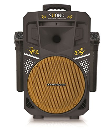 Karaoke Machine, Wireless Portable Speakers with 2 Wireless Microphones, PA Sound System (MCP-75 Suono) Yellow & Black