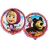 Tons Of Fun Balloons LTD - Globo de Masha y el oso de helio Mylar Foil redondo, multicolor, L18023