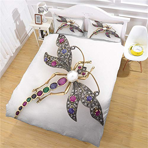 FFBYQ Bedding Set With 3D Insect,Child Boys Bedding Set With Zipper Soft Microfiber Bedding 2 Pillowcases(1 Duvet Cover + 2 Pillowcases) 200X200Cm