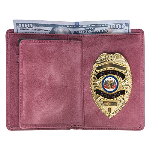 Police Badge Wallet, All Leather, Fits Any Shape Badge with Pin Back- Dusty Rose Pink