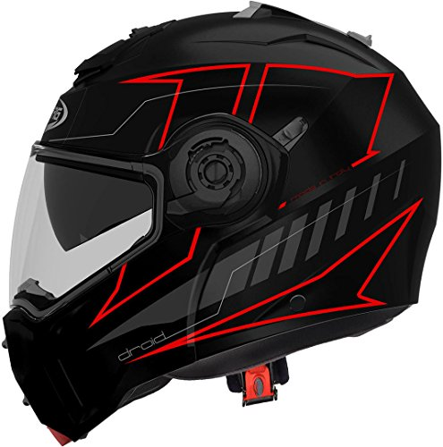 CASCO CABERG DROID BLAZE MATT BLACK/RED FLUO S