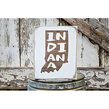 MINI Indiana Rustic Wood Signs - Whitewash State Signs - Home State Decor - Personalized State Sign 6x7in