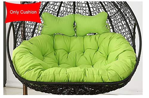 LDIW Hangstoel stoelkussen, dubbele zitkussen voor hangende ei-stoel hangmat rugkussen zonder houder 110x150cm groen