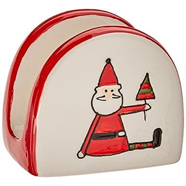 Pavilion Gift Company Holiday Hoopla Santa Ceramic Christmas Napkin Holder, 2.75 , Red