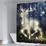 Michorinee Weihnachten Duschvorhänge Elch Rentier Muster Anti-Schimmel Wasserdicht Anti-Bakteriell Badezimmer Vorhang für Badewanne 180 × 180 cm