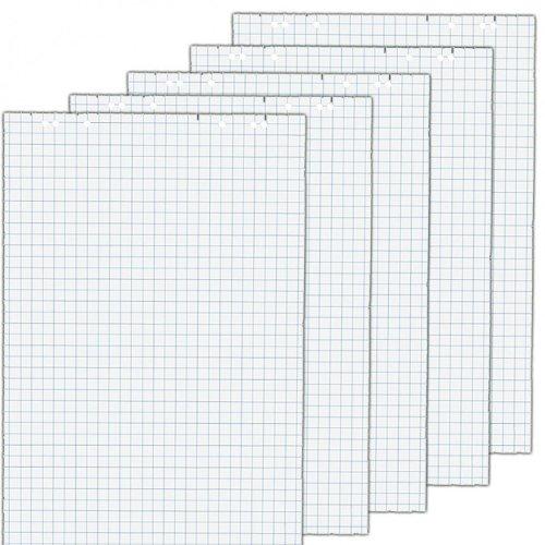 5x Flipchartblöcke, kariert, je Block 20 Blatt 69x99 cm, 6 fach Lochung, perforiert, Papier für Flipchart