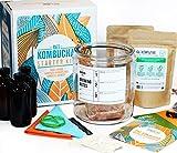 Kombucha Starter Kit .Deluxe Brewing Bundle, Create Vegan Organic Tea, Non-GMO and Gluten Free Brew with Advanced Probiotics, Glass Gallon Jar, Funnel, and Botanicals