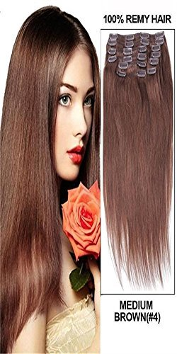55,9 cm 10 lisse et soyeux Remy Clip en Extensions de cheveux humains. 160 g Noir brun blond mixte Couleurs Marron foncé (# 02)