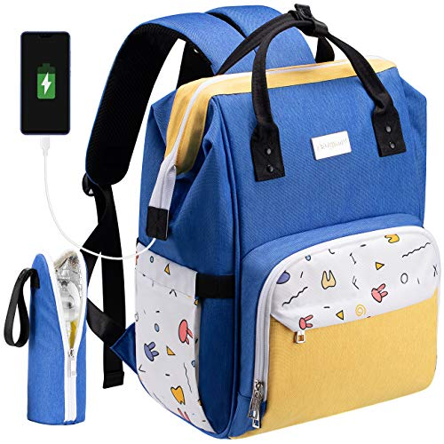 COSYLAND Nappy Changing Backpack Diaper Bag for Mom Multi-Function Travel Backpack Blue Yellow