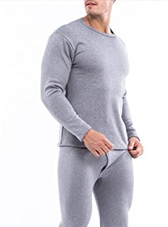 Yamyannie-Clothing Men's Thermal Underwear Long Set Top And Bottom (Color : Light gray, Size : XXL)