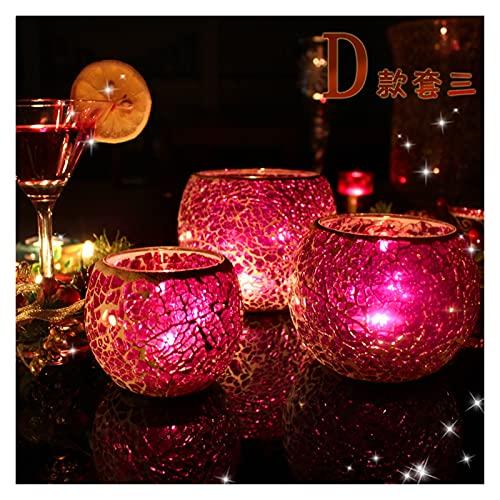 Xu Yuan Jia-Shop Candelero Mesa de Cena de Mosaico Mesa de Comedor Vela Decoración Vela Luz Cena Props Nordic Hogar Vela Lámpara romántica Decoración De Candelabro (Color : D)