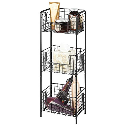 mDesign 3 Tier Vertical Standing Bathroom Shelving Unit, Decorative Metal Storage Organizer Tower Rack Center with 3 Basket Bins to Hold and Organize Bath Towels, Hand Soap, Toiletries - Black