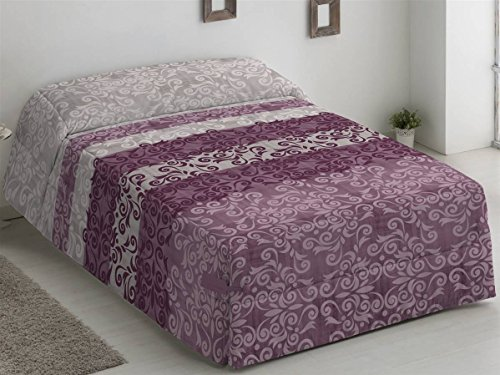 Camatex - Conforter Catalina Cama 150 - Color Malva (edredón de Acolchado Grueso época de frío con Cintas y Botones como Sistema de Ajuste)