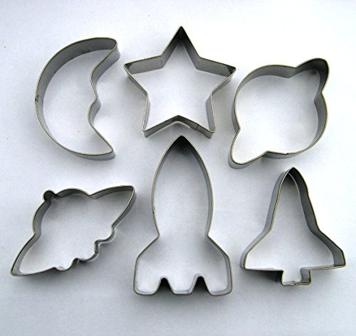 Space Cookie cutter Spaceship shuttle rocket saturn moon fondant biscuit pastry baking mold by LAWMAN