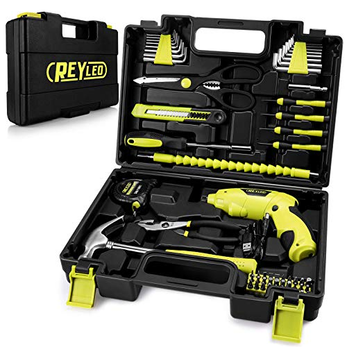 Tool Set, REYLEO Tool Kit with Electric Screwdriver, Rechargeable Cordless Screwdriver set, 58PCS in Tool Storage Box - RLHT01D