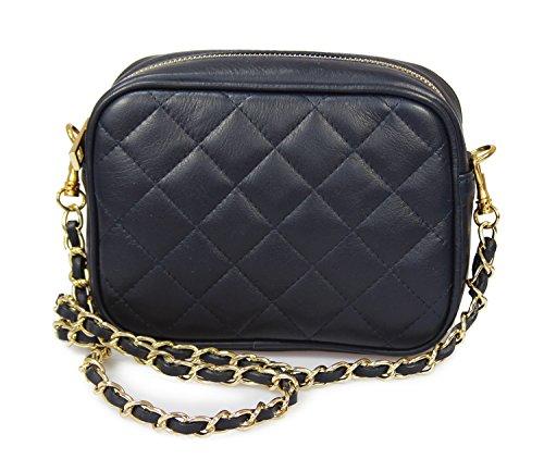 IO.IO.MIO Damen Nappa Leder Handtasche Clutch Schultertasche Umhängetasche gesteppt Damentasche Kettentasche Abendtasche kleine Frauen Handtaschen Crossover Tasche Navy blau, 19x14x6,5 cm (B x H x T)