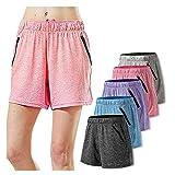 5PC Pantalones Casual Algodón Elásticos Cortos Deportivos Shorts Cintura Alta Elástica con Bolsillos para Levantamiento de Culo de Yoga Fitness para Mujer