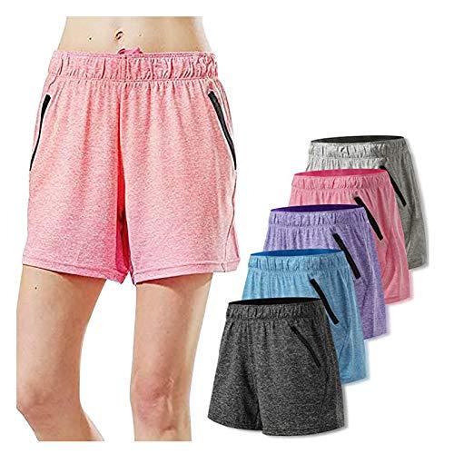5PC Pantalones Casual Algodón Elásticos Mallas Cortas Mujer Cortos Deportivos Cintura Alta...